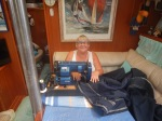 Terri sewing the bimini