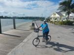 Terri biking thru Spanish Wells